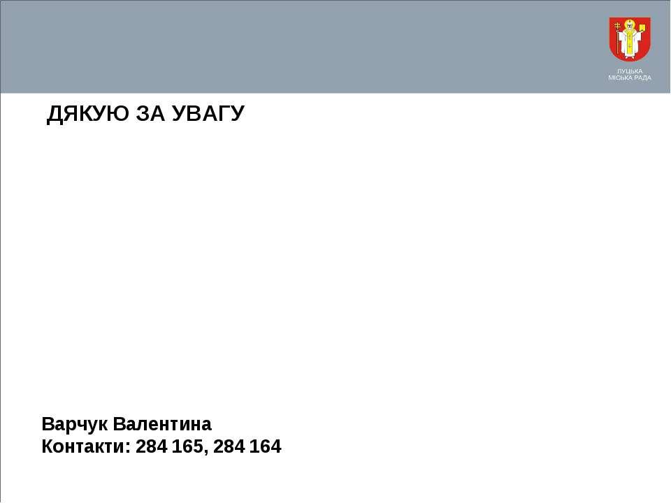 ДЯКУЮ ЗА УВАГУ Варчук Валентина Контакти: 284 165, 284 164