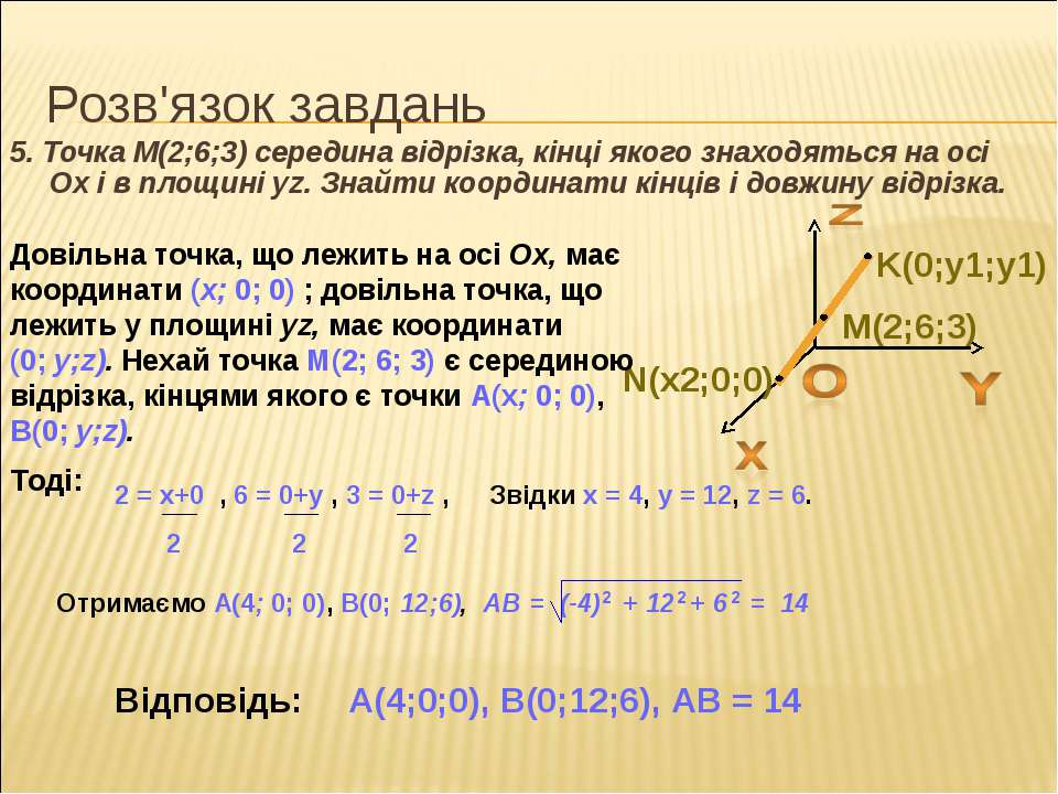 Розв'язок завдань 5. Точка M(2;6;3) середина відрізка, кінці якого знаходятьс...