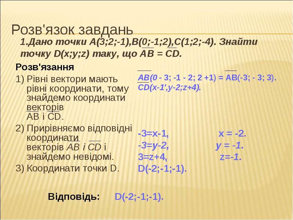 Розв'язок завдань Розв'язання 1) Рівні вектори мають рівні координати, тому з...