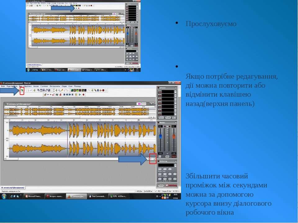Прослуховуємо Якщо потрібне редагування, дії можна повторити або відмінити кл...