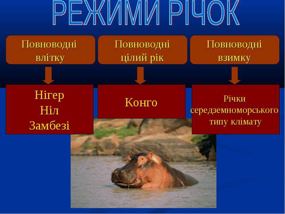 Повноводні влітку Повноводні цілий рік Повноводні взимку Нігер Ніл Замбезі Ко...