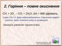 2. Горіння – повне окиснення СН4 + 2О2 →СО2 + 2Н2О; ∆Н = 890 кДж/моль Суміш С...