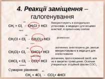 4. Реакції заміщення – галогенування світло СН4 + Cl2 → CH3Cl + HCl хлорметан...