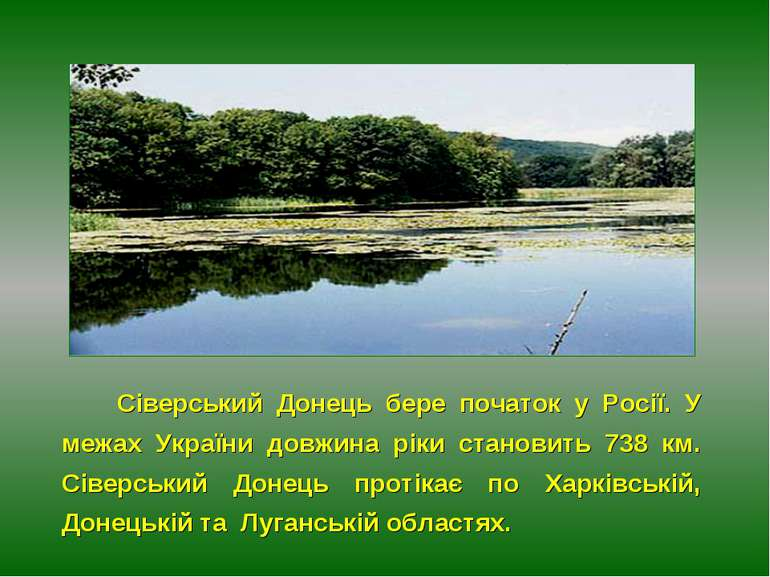 Сіверський Донець бере початок у Росії. У межах України довжина ріки становит...
