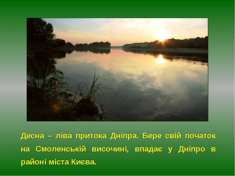 Десна – ліва притока Дніпра. Бере свій початок на Смоленській височині, впада...
