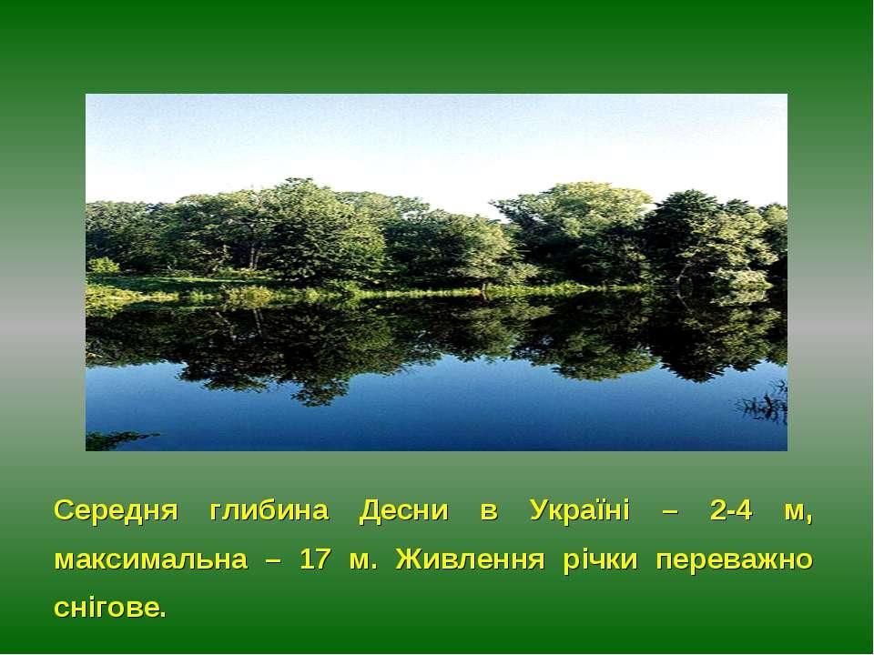 Середня глибина Десни в Україні – 2-4 м, максимальна – 17 м. Живлення річки п...