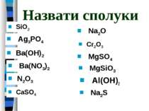 Назвати сполуки Al(OH)2 Ag3PO4 Ba(OH)2 SiO2 N2O3 CaSO4 Na2O Cr2O3 MgSO4 MgSiO...