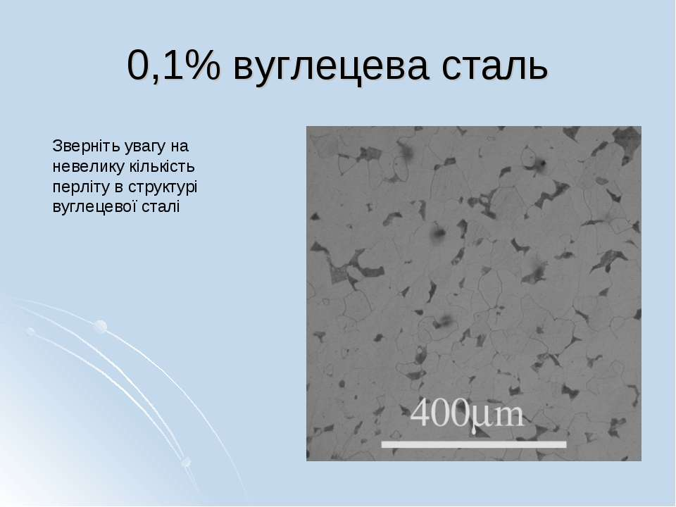 0,1% вуглецева сталь Зверніть увагу на невелику кількість перліту в структурі...