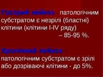 Гострий лейкоз - патологічним субстратом є незрілі (бластні) клітини (клітини...
