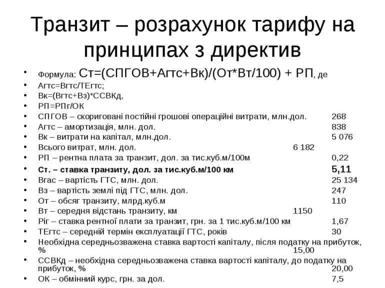 Транзит – розрахунок тарифу на принципах з директив Формула: Ст=(СПГОВ+Агтс+В...