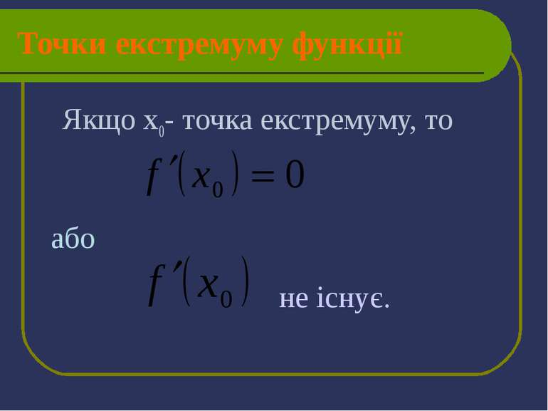 Точки екстремуму функції Якщо х0- точка екстремуму, то або не існує.