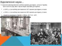 Відновлення науки… У повоєнні роки відновилася робота науково-дослідних устан...