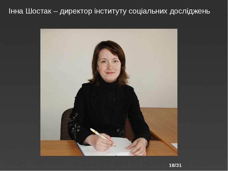 /31 Інна Шостак – директор інституту соціальних досліджень