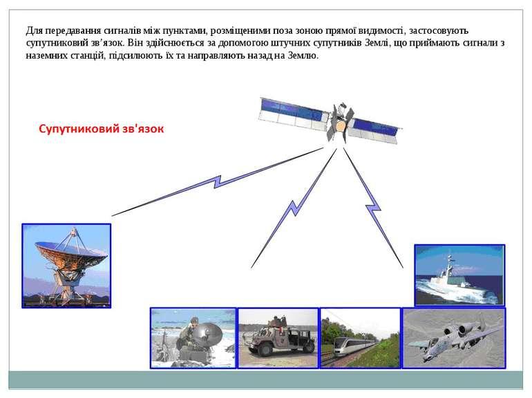 Для передавання сигналів між пунктами, розміщеними поза зоною прямої видимост...