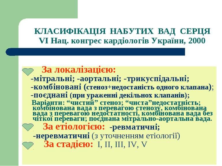 КЛАСИФІКАЦІЯ НАБУТИХ ВАД СЕРЦЯ VI Нац. конгрес кардіологів України, 2000 За л...
