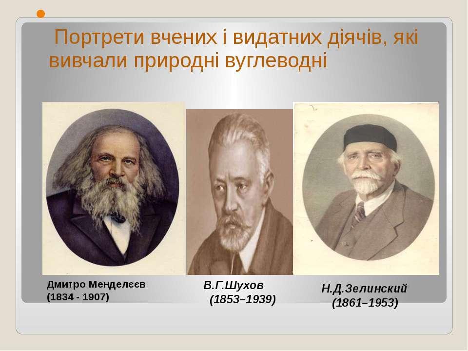 Портрети вчених і видатних діячів, які вивчали природні вуглеводні Н.Д.Зелинс...