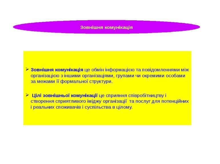 Зовнішня комунікація Зовнішня комунікація це обмін інформацією та повідомленн...