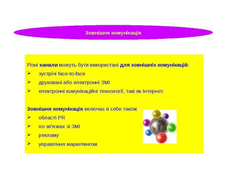 Зовнішня комунікація Різні канали можуть бути використані для зовнішніх комун...