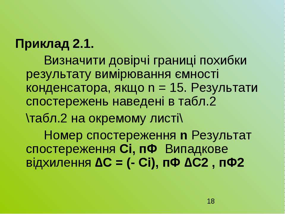 Приклад 2.1. Визначити довірчі границі похибки результату вимірювання ємності...