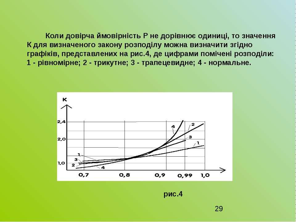 Коли довірча ймовірність P не дорівнює одиниці, то значення К для визначеного...