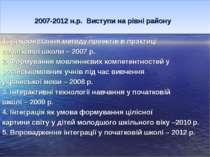 2007-2012 н.р. Виступи на рівні району 1. Використання методу проектів в прак...
