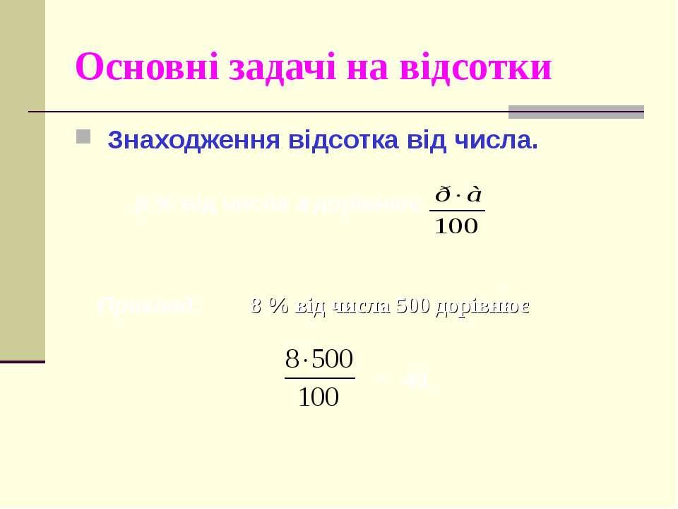 Основні задачі на відсотки Знаходження відсотка від числа. р % від числа а до...