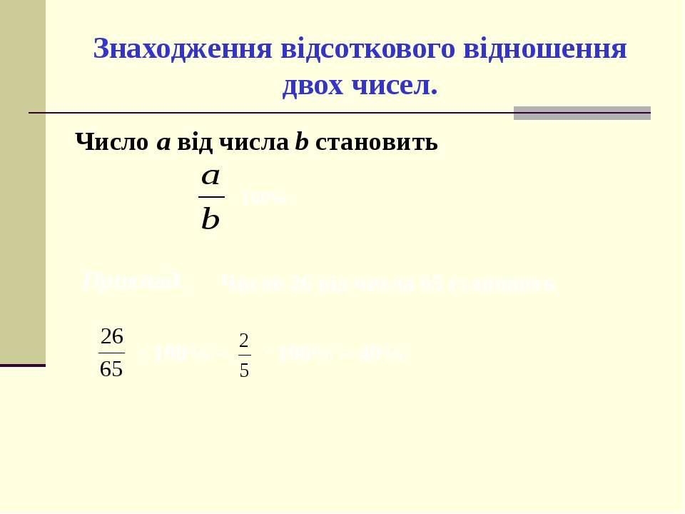 Знаходження відсоткового відношення двох чисел. Число а від числа b становить...