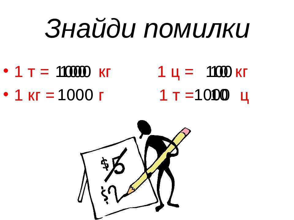 Знайди помилки 1 т = кг 1 ц = кг 1 кг = г 1 т = ц 1000 100 1000 1000 10 100 10