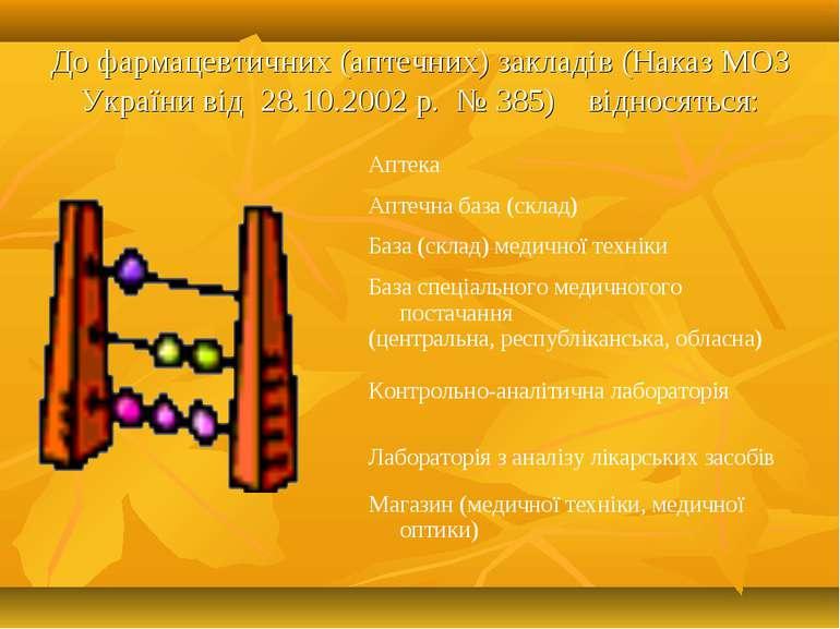 До фармацевтичних (аптечних) закладiв (Наказ МОЗ України вiд 28.10.2002 р. № ...