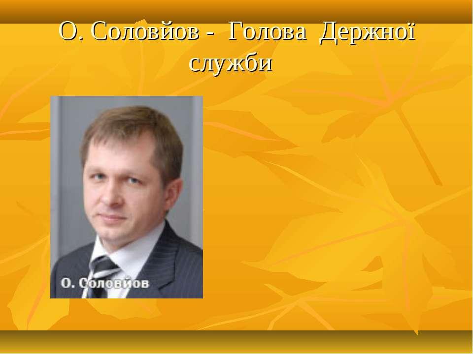 О. Соловйов - Голова Держної служби