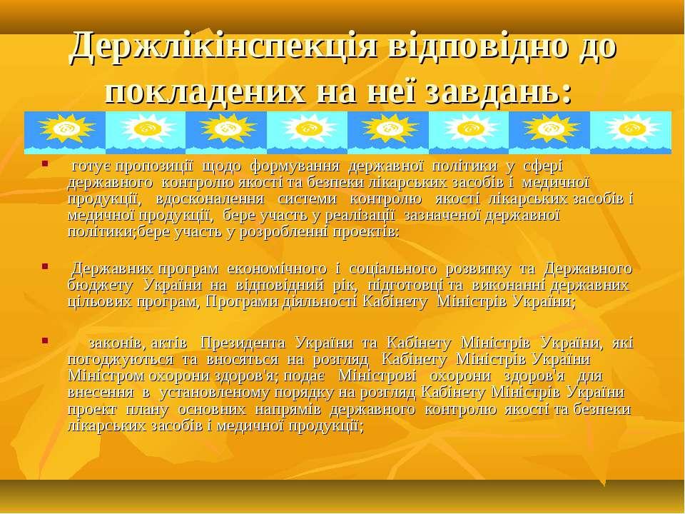 Держлікінспекція відповідно до покладених на неї завдань: готує пропозиції що...