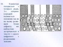 18. Клавіатура складається з чотирьох рядів, 3-х літерних (середній називаєть...