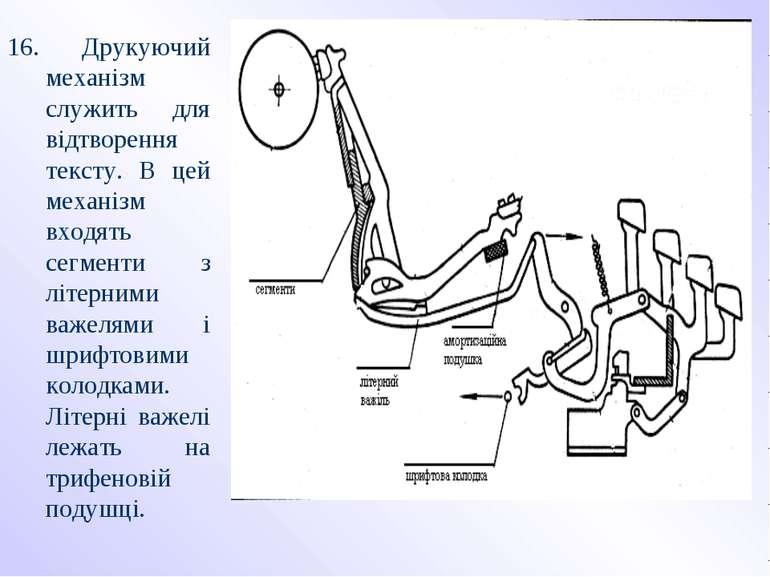 16. Друкуючий механізм служить для відтворення тексту. В цей механізм входять...