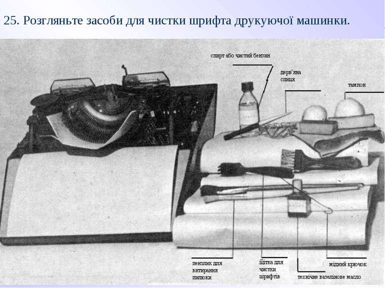 25. Розгляньте засоби для чистки шрифта друкуючої машинки.