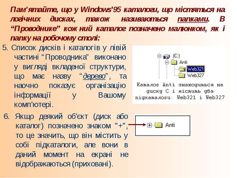 Пам'ятайте, що у Windows'95 каталоги, що містяться на логічних дисках, також ...