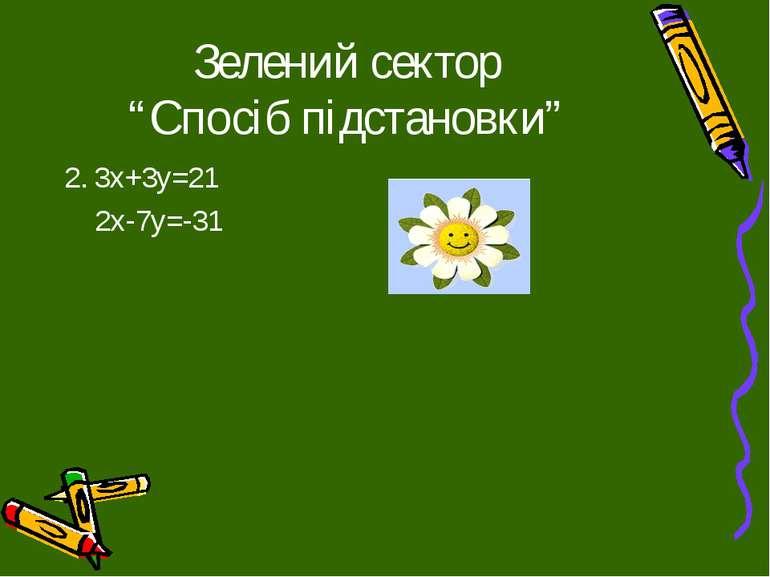 """Зелений сектор """"Спосіб підстановки"""" 2. 3х+3у=21 2х-7у=-31"""