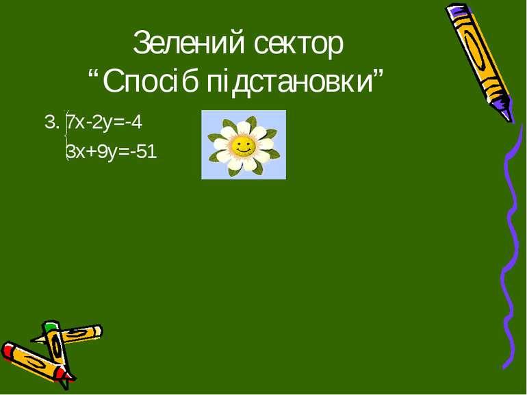"""Зелений сектор """"Спосіб підстановки"""" 3. 7х-2у=-4 3х+9у=-51"""