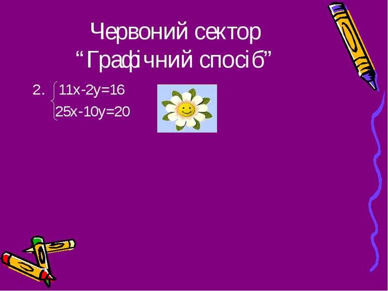"""Червоний сектор """"Графічний спосіб"""" 11х-2у=16 25х-10у=20"""