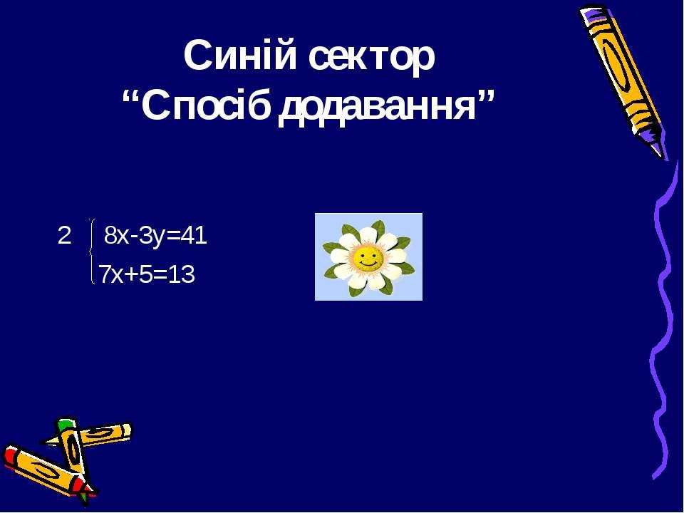"""Синій сектор """"Спосіб додавання"""" 8х-3у=41 7х+5=13"""