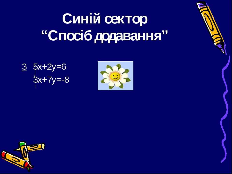"""Синій сектор """"Спосіб додавання"""" 3 5х+2у=6 3х+7у=-8"""