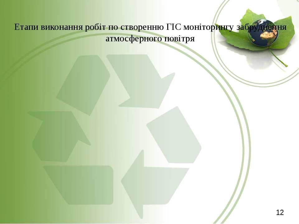 Етапи виконання робіт по створенню ГІС моніторингу забруднення атмосферного п...