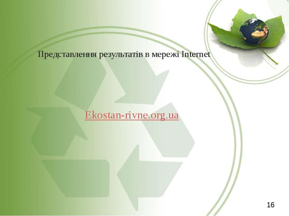 Представлення результатів в мережі Internet Ekostan-rivne.org.ua 16