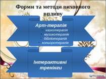 Форми та методи виховного впливу Арт-терапія казкотерапія музикотерапія біблі...