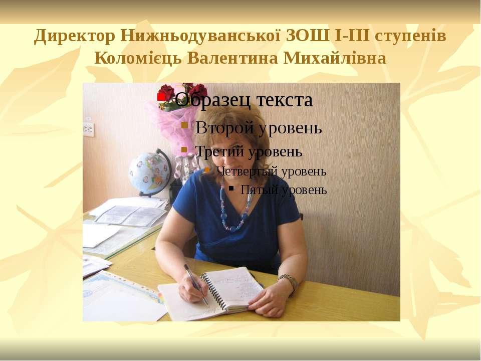 Директор Нижньодуванської ЗОШ І-ІІІ ступенів Коломієць Валентина Михайлівна