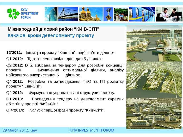 """12'2011: Ініціація проекту """"Київ-сіті"""", відбір п'яти ділянок. Q1'2012: Підгот..."""