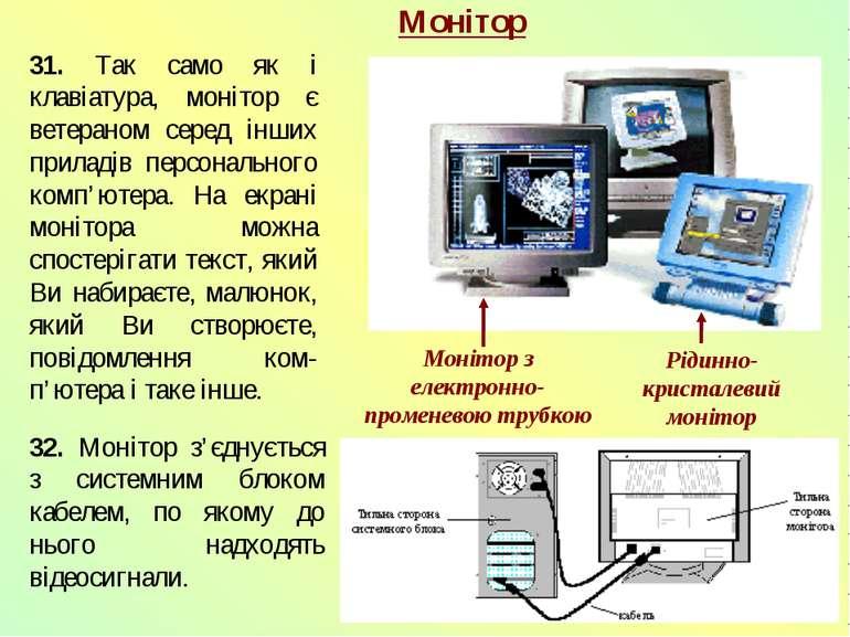 Монітор 31. Так само як і клавіатура, монітор є ветераном серед інших приладі...