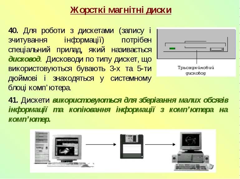 40. Для роботи з дискетами (запису і зчитування інформації) потрібен спеціаль...