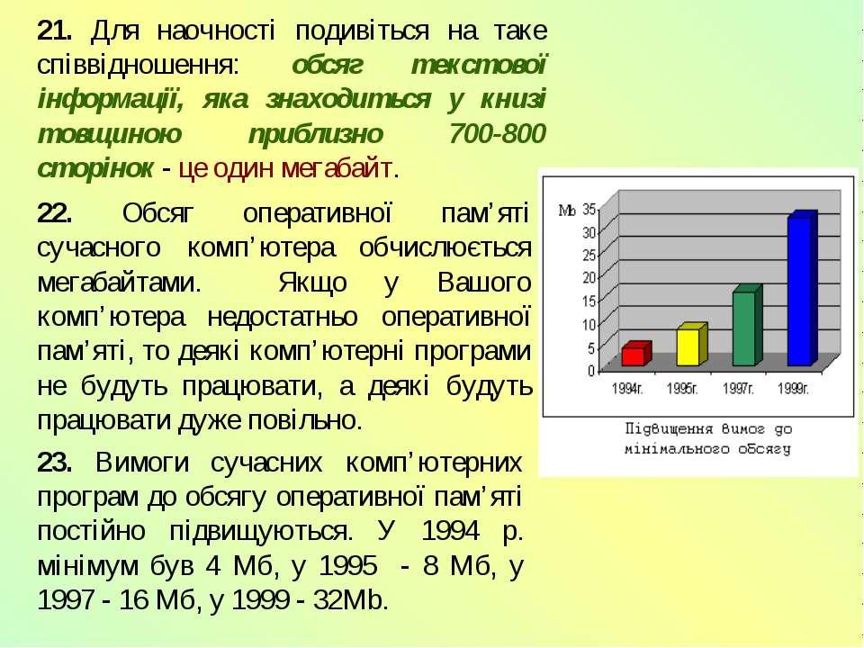 21. Для наочності подивіться на таке співвідношення: обсяг текстової інформац...
