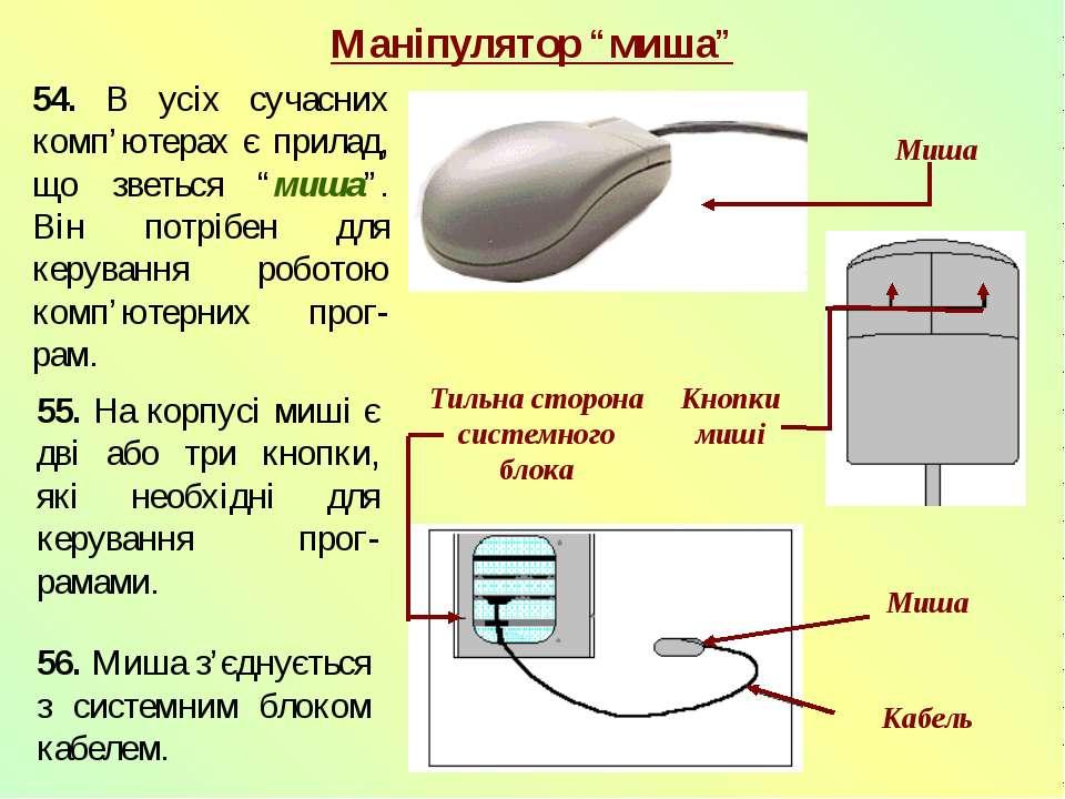 56. Миша з'єднується з системним блоком кабелем. 54. В усіх сучасних комп'юте...