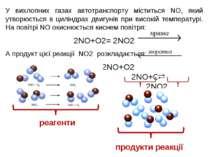 У вихлопних газах автотранспорту міститься NO, який утворюється в циліндрах д...